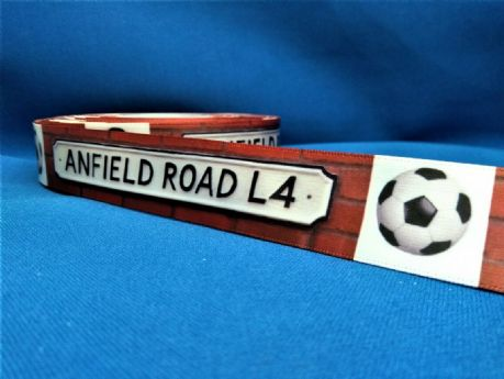 1 METRE ANFIELD ROAD LIVERPOOL RIBBON SIZE INCH HEADBANDS HAIR BOWS BIRTHDAY CAKE